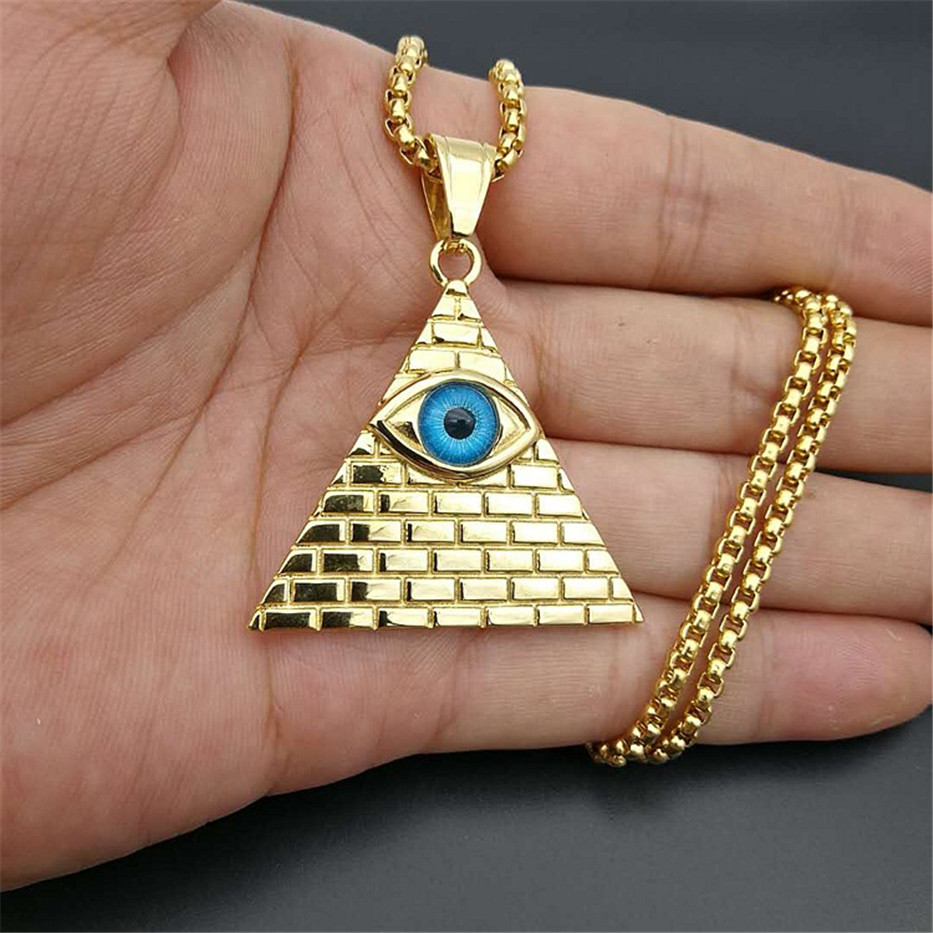 Hip Hop Ancient Egypt Pyramid Eye Pendant Necklace For Women/Men Gold Color Stainless Steel Iced Out Egyptian Jewelry