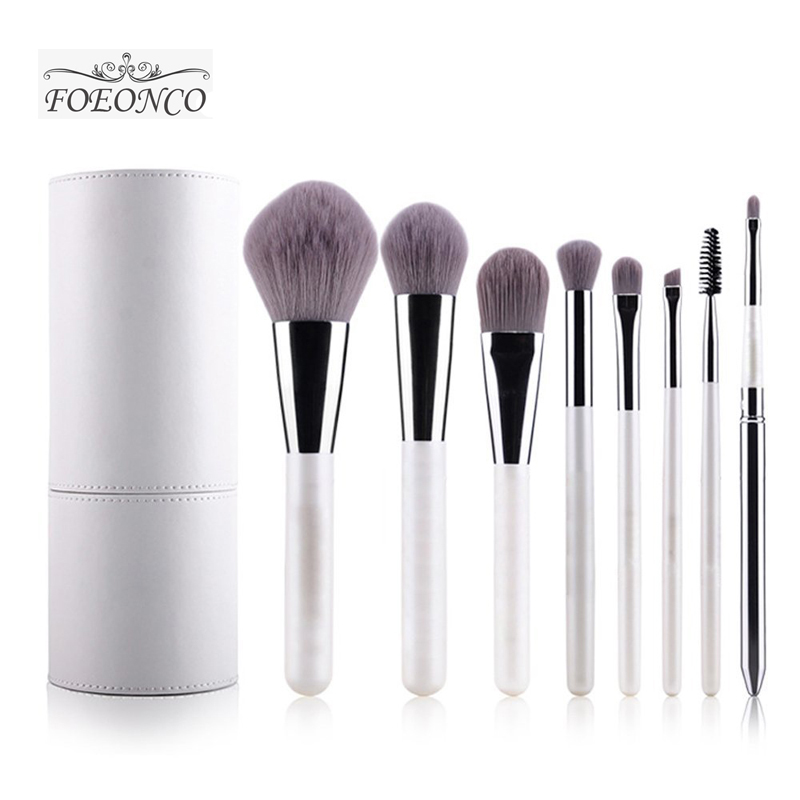 цены  New Arrival Makeup Brushes professional Cosmetics brush Set 8pcs High Quality top Synthetic Hair With White Cylinder brush set