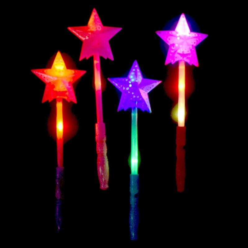 Children Chrismas LED Lights Up Glow Sticks Toy Concert Festival Halloween Party Flashing Star Wand Toy Halloween Flashing Stick