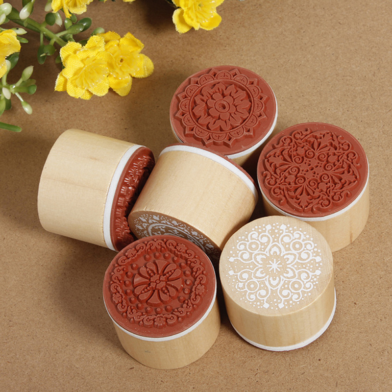 6Pcs/Set Vintage Floral Flower Pattern Round Wooden Rubber Stamps for DIY Scrapbooking Photo Album Decoration Embossing Craft plastic embossing foldet flower diy scrapbooking photo album card paper craft decoration template