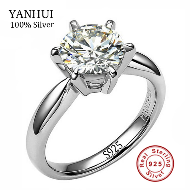 100 Real Solid Silver Wedding Rings For Women Set 8mm Sona Cz Diamant Engagement Ring