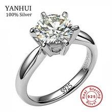 100% Real Sólida Anillos de Bodas de Plata para Las Mujeres Set 8mm Sona CZ Anillo de Compromiso de Diamantes de 925 Anillos de Plata Pura Joyería Fina JZR025