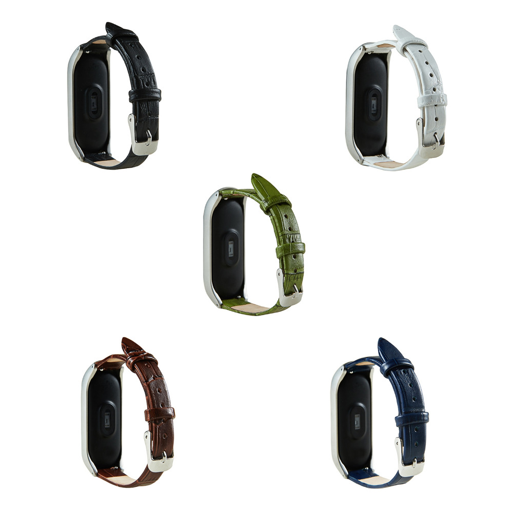 Replacement Genuine Leather Wristband Bracelet Strap w/ Frame for XIAOMI MI Band 3 Watch Band genuine leather unisex wristband bracelet w 4pcs hemp cords brown 5 pcs