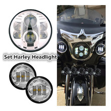 Set H4 Round 7 inch LED Headlights Kit & 4.5 Inch LED Projector Fog Lights Passing Auxiliary Lamp for Harley Davidso Motorcycle