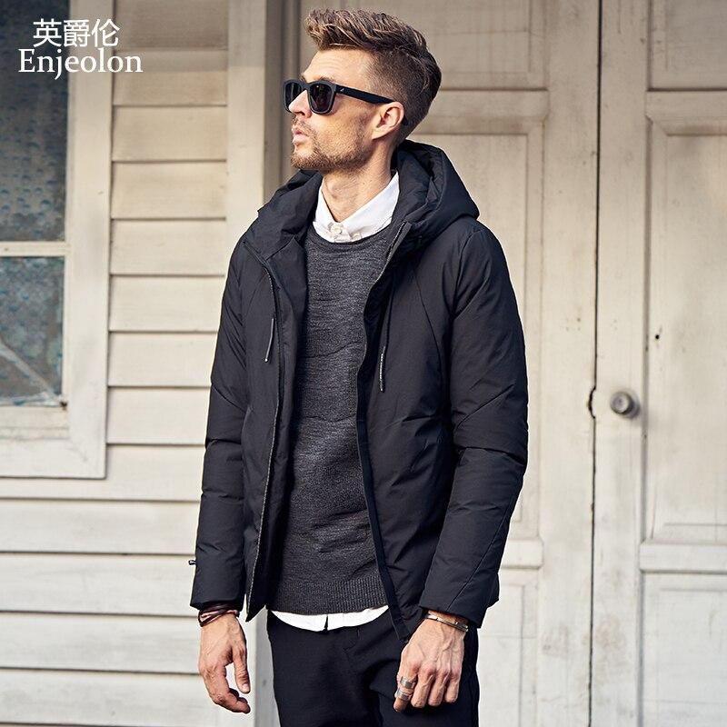 Enjeolon brand fashion thicken winter down hooded jacket men light clothing black green coat plus size 3XL down parka MF0104