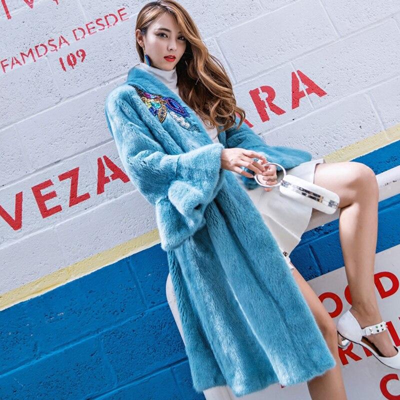 M. Y. FANSTY 2019 hiver importation velours diamants arcs papillon manches femmes vison manteau réel fourrure manteau col en v longue perte vison manteaux - 3