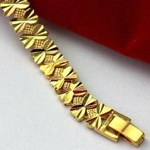Браслет цепочка с сердцем и золотым наполнителем 19 см