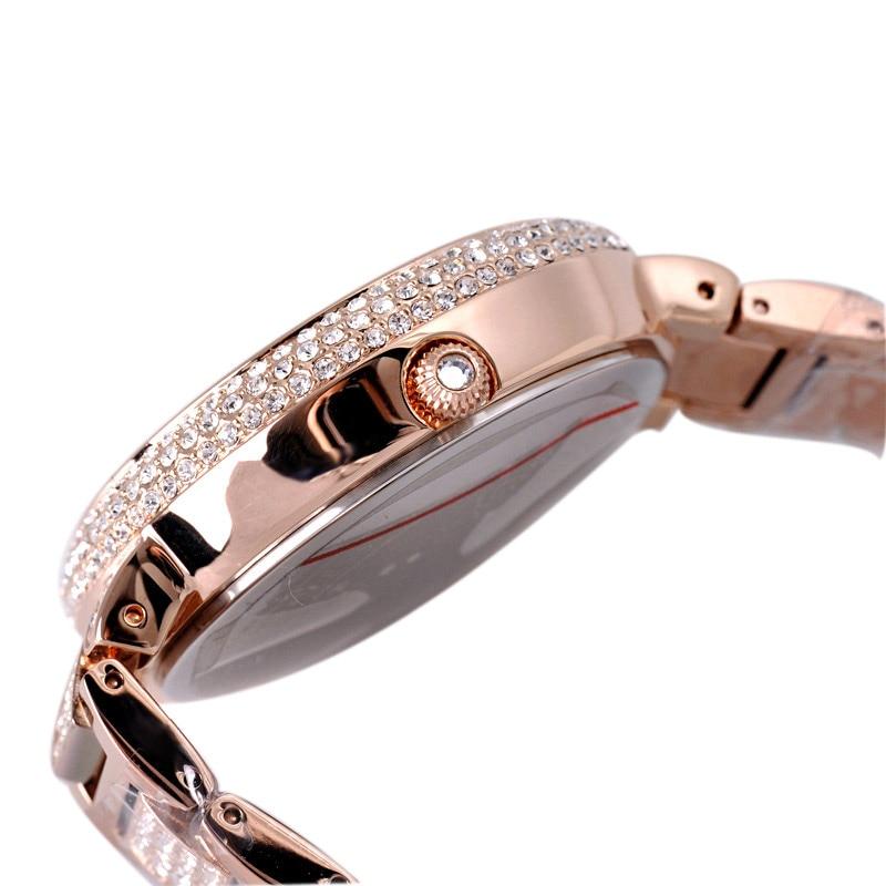 Femmes de luxe Bling strass filature léopard montres femmes mode à la mode montre à Quartz or Rose argent dames horloge cadeau - 3