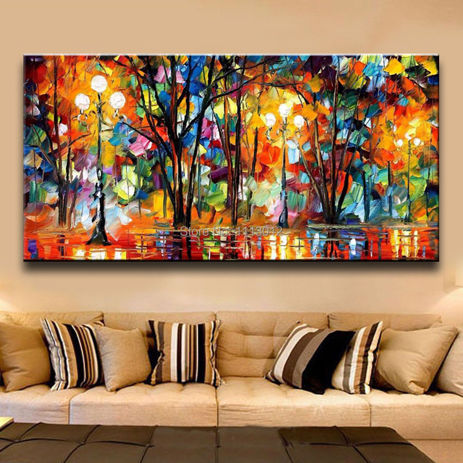 palette knife large multicolor abstract oil painting on canvas