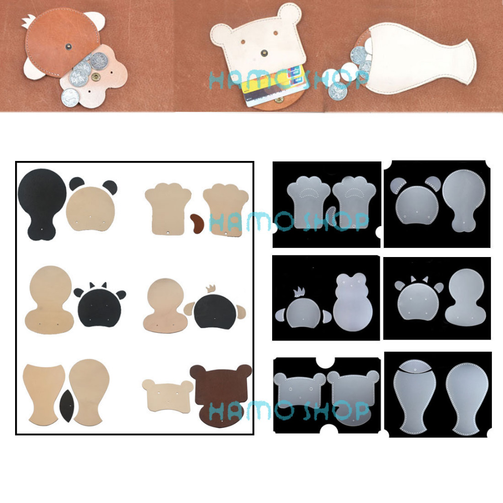 1pcs DIY PVC Children Handmade Gift Animal Head Design Leather Card Holder Wallet Sewing Pattern Bus Work Card Sets Fish in Leathercraft Accessories from Home Garden
