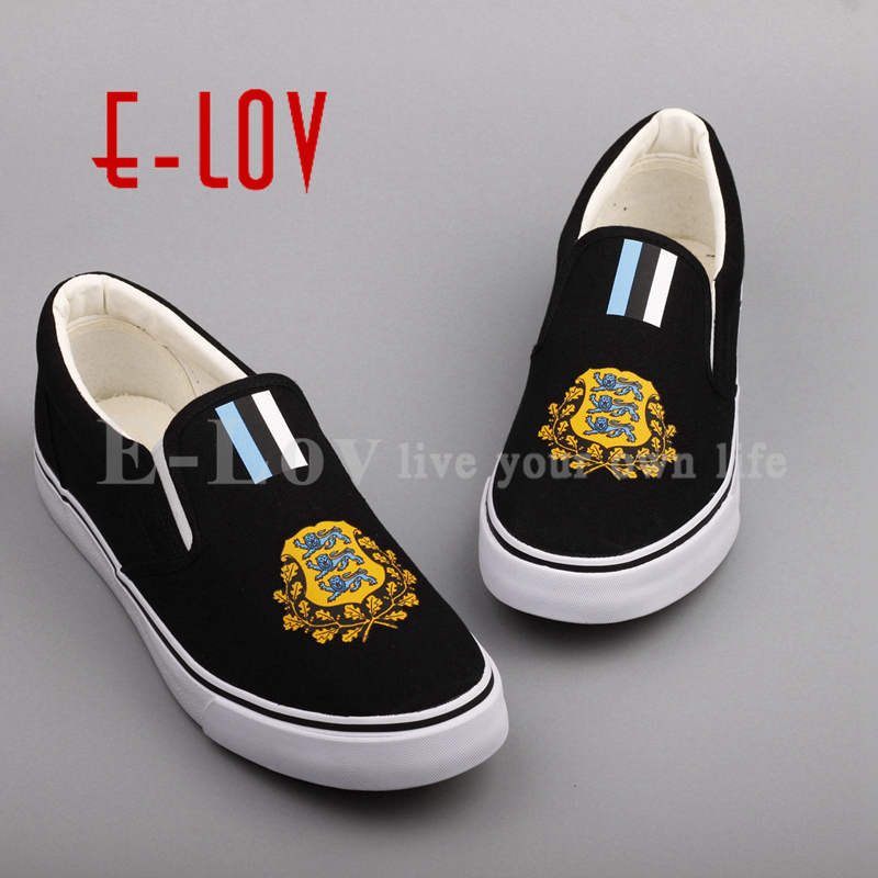 E-LOV Fashion Women Girls Casual Shoes Estonia National Emblem Shoes Printed Esthonian Country Flags Canvas Shoe Loafers