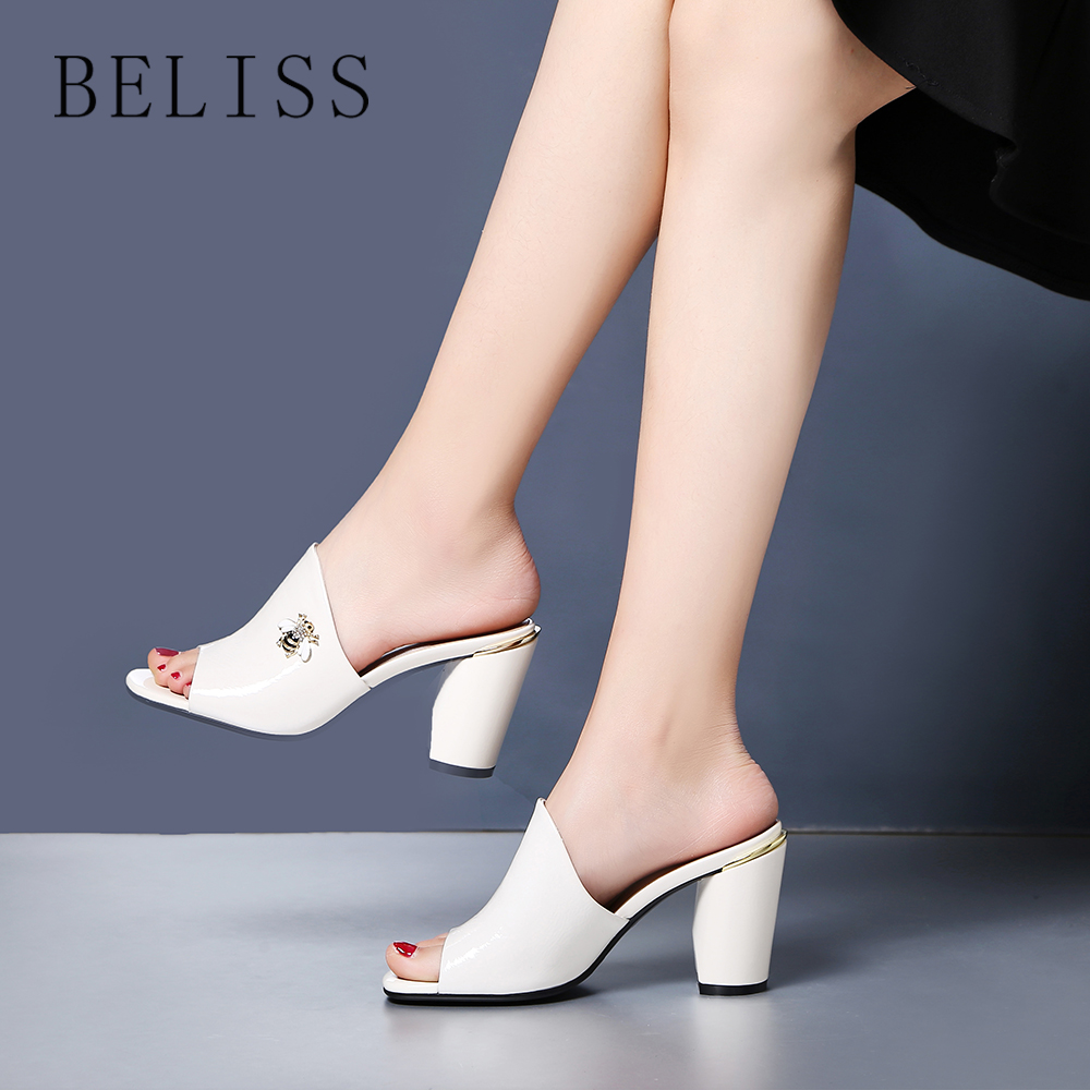 BELISS fashion slides women high heels comfortable slippers for women open toe outdoor summer ladies shoes bee decoration S2