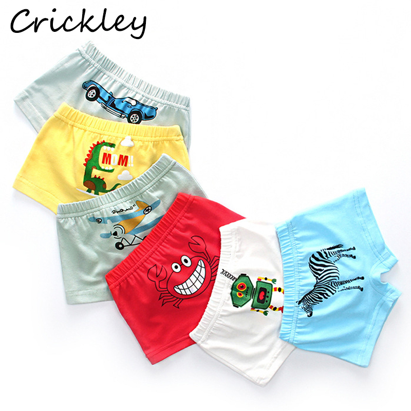 Boys Underpants Cartoon Airplane Dinosaur Robot Print Child Boxer For Boys Breathable Toddler Underwear Yellow Red Blue Briefs