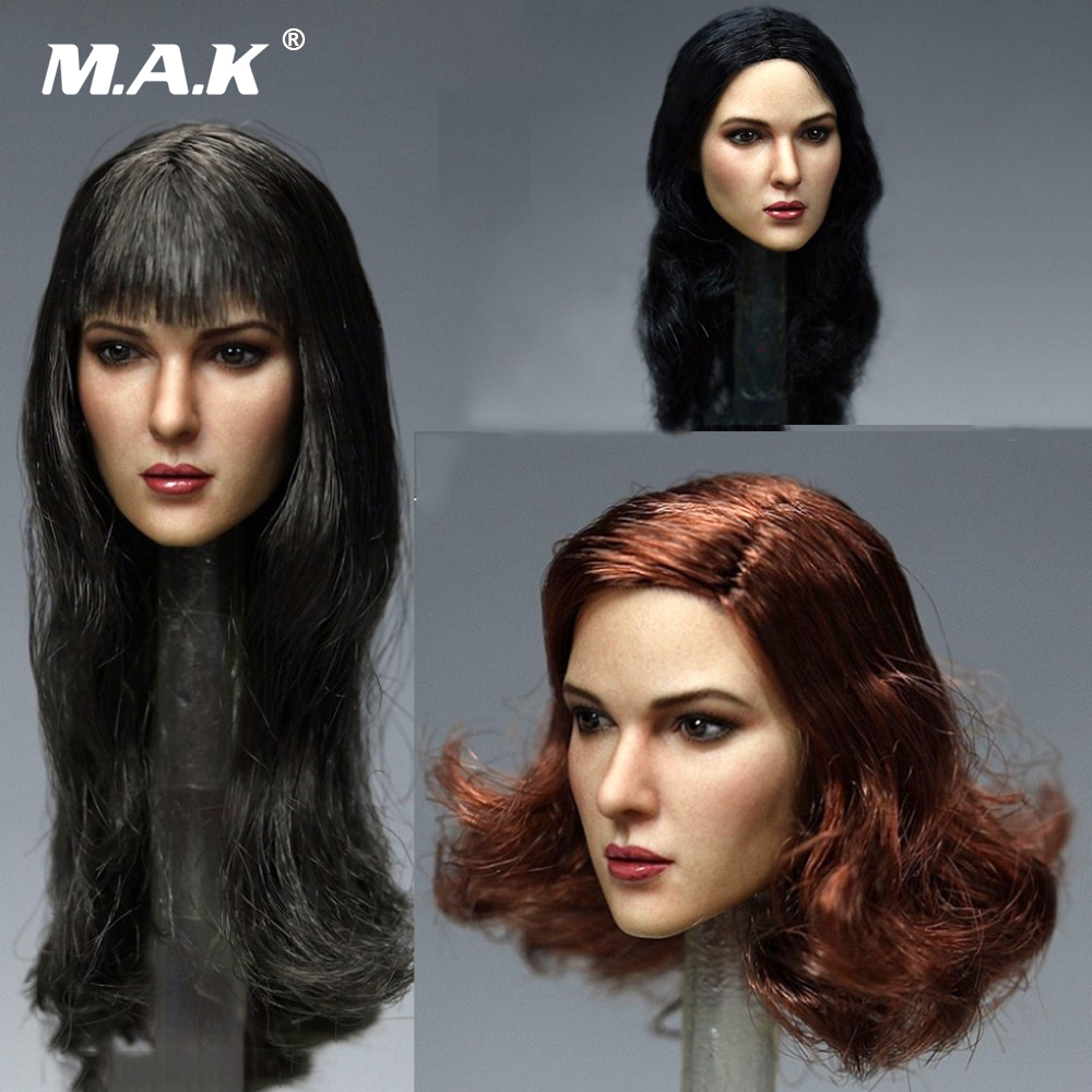 KM TOYS 1/6 European Long Curly Hair Female Head Carved Sculpt Model KT011 A B C  For 12'' PH S07 Pale Body Action Figures