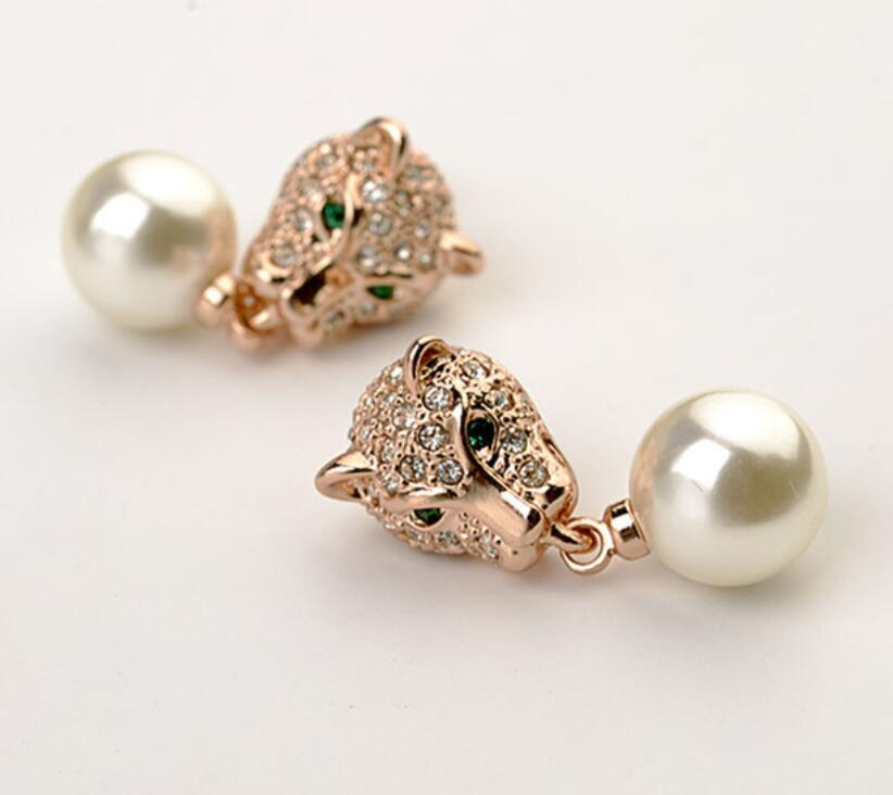 Fashion Jewelry Brand Fully-Jewelled Leopard Pearl Earring for women bijoux,rose gold/silver crystal pearl panther earrings все цены