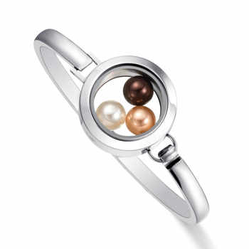 2018 Newest  Fitting 8mm Pearl 316 l Stainless Steel Glass Locket  Bracelet Bangle for Women - DISCOUNT ITEM  10% OFF All Category