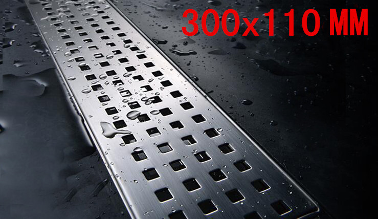 304 stainless steel Bathroom Bath 300 x 110mm Square Shower Floor Drainer Trap Waste Grate Strainer Cover DR007