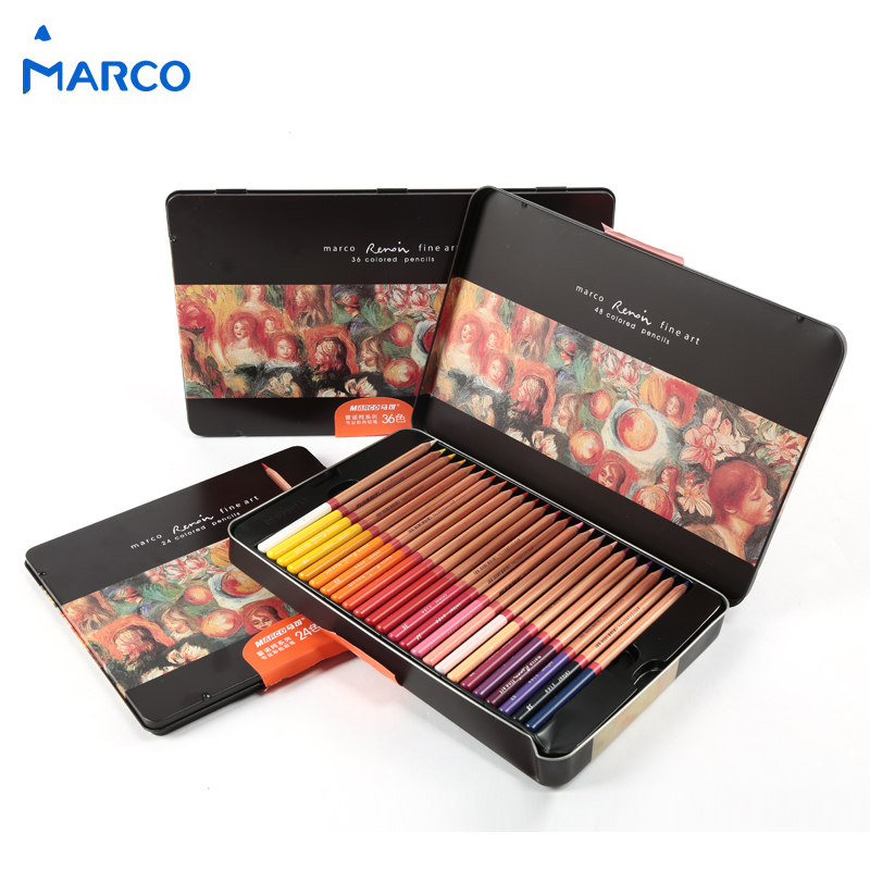 Marco Iron Box Color Pencil Set 24/36/48 Professional Colors Oily Colored Pencil For Artist/Student lapis de cor 3100 periche professional lipos shampoo oily