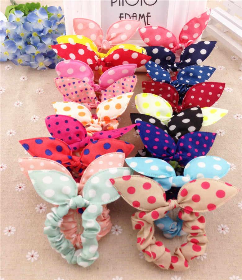 1pc Lot Mix Style Clips For Hair Band Polka Dot Leopard Trip Hair Rope Rabbit Ears Headwear Hair Tie girl Hair Accessorie