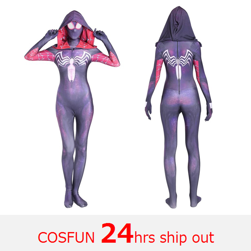 Women Venomized Spiderman-Gwen Cosplay Costumes Spandex Blue Hooded Tights Suit Suitable for Halloween 24 Hrs Shipped Out
