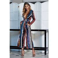 Fashion Summer Women Jumpsuit Striped Long Pants Rompers Sequin Jumpsuit Sexy Deep V Neck Long Sleeve Jumpsuits Sequins Clubwear