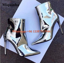 Women Charming New Design Pointed Toe Mirror Leather Sliver Gold High Heel Ankle Boots Classical Style Formal Dress Shoes Boots