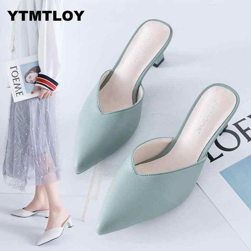 Beyaz bahar ofis ayakkabı kadın yüksek topuklu pompa 5CM üzerinde kayma sandalet Sandalias rahat bayanlar Tenis beyaz yüksek topuklu