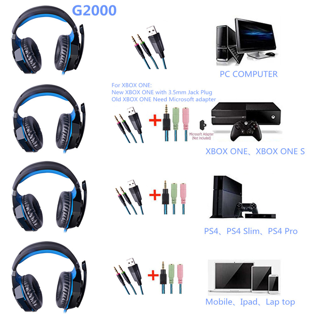 G2000 Gaming Headsets for Computer Tablet PS4 X-BOX 5
