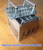 Aço inoxidável 30 pçs/set Comercial máquina de fazer Gelo Pop Picolé Mold Mould com Varas Titular para Uso do Congelador de Gelo-lolly