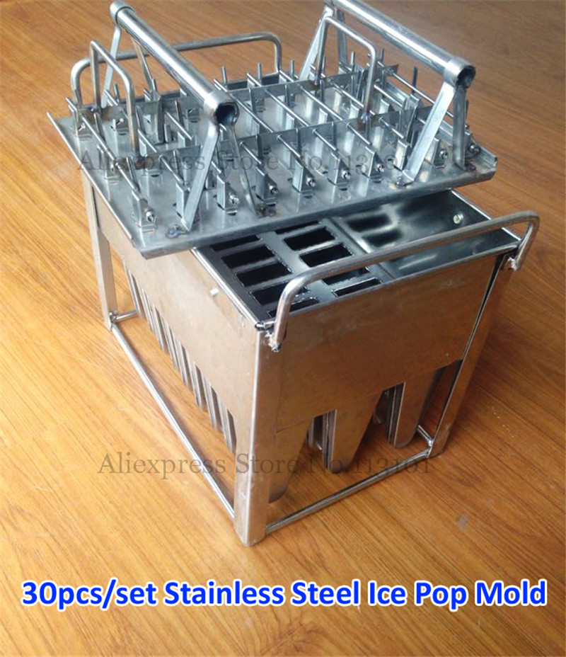 Stainless Steel Popsicle Mold 30pcs/Set Commercial Ice Pop Mould with Sticks Holder for Ice-lolly Freezer Use ice cream popsicle mold for freezer use ice lolly mould durable stainless steel 30pcs set with stick holder
