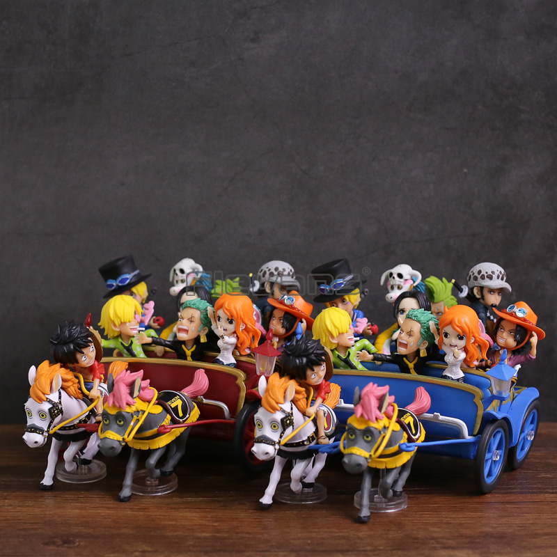 Anime One Piece Luffy Nami Zoro Sanji Chopper Ace Sabo Law Hancock 20th Anniversary Carriage with Carriage PVC Figures Toys Set new high quality one piece hoodie anime roronoa zoro sanji luffy cosplay coat jacket winter men thick zipper warm sweatshirt