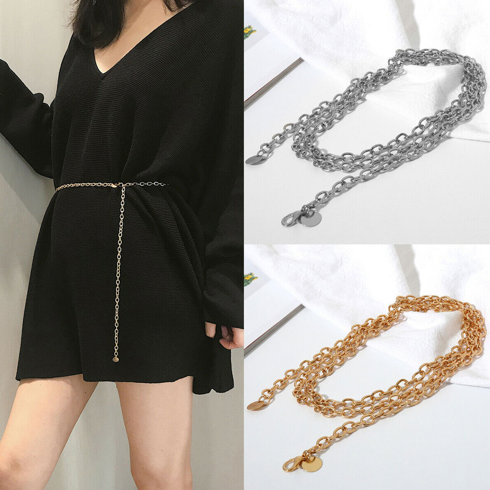 US Women Narrow Metal Skinny Chain Fashion Belt Hip Waist Gold Waistband Dress Fashion Fine Waist Chain