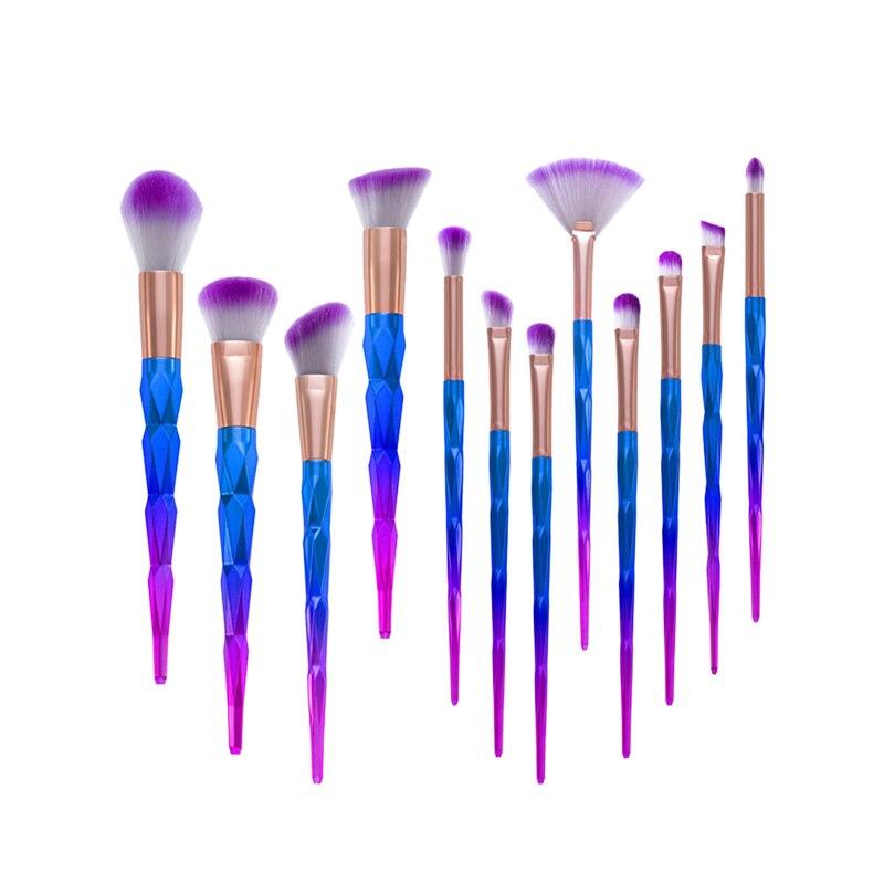 12Pcs Unicorn Make Up Brush Kits Women Cosmetics Ombre Fancy Gradient Color Tapered Angular Makeup Brushes Set Beauty Fan Brush 10pcs unicorn tapered shape makeup brushes set