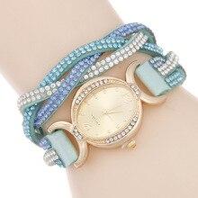 Retro Luxury Women's Quartz Wristwatch Rhinestone Weaven Leather Women Bracelet Dress Watch Gold Chain Relogio Feminino Clock