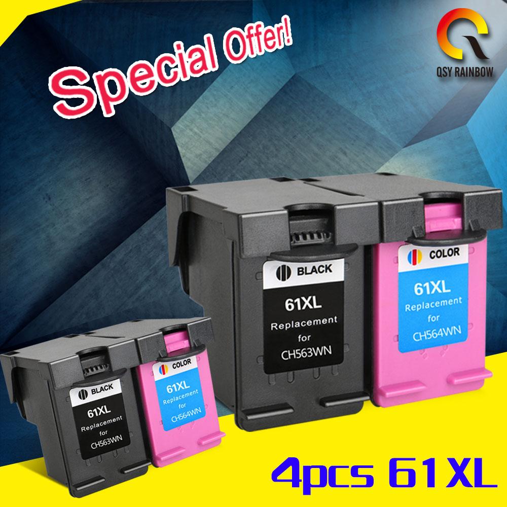 2 sets 4 pcs for hp 61 Ink Cartridge for HP 61XL Envy 4500 4502 5530 & Deskjet 1050 2050 3050 3054 3000 1000 Printer
