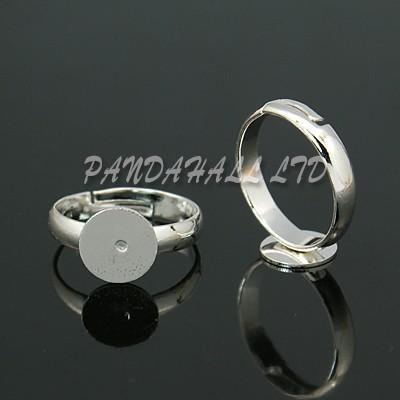Brass Pad Ring Bases, Lead Free and Cadmium Free, Adjustable, Silver Color, Ring: about 3mm wide, 14mm inner diameter, Tray: