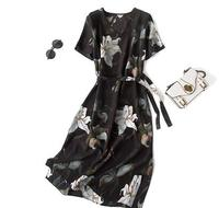 New Arrival 100 Silk Female Dress Pure Silk V Split Collar And Short Sleeves And Long