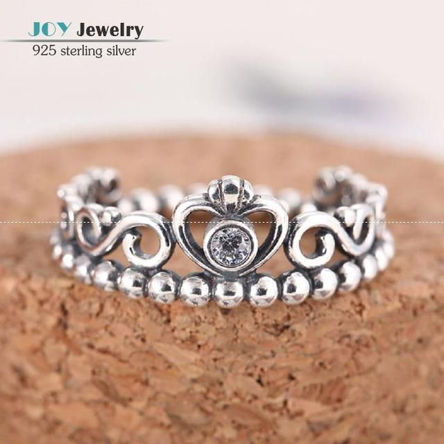 2015 Newest 925 Sterling Silver Princess Crown Rings For Women European Brand Wedding Engagement Ring Free Shipping SH0563