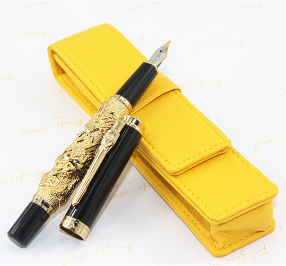 Luxury Golden Chinese Ming Dynasty Emperor Style Jade Ball Fountain Pen Fine Tip parker 88 maroon lacquer gt fine point fountain pen