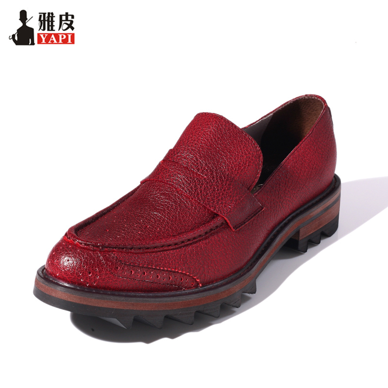 Men Genuine Leather Wing Tips Brogue Shoes Business Man Dress Shoes Thick Heel Wedding Shoes Man Heighten shoes Oxfords in Men 39 s Casual Shoes from Shoes