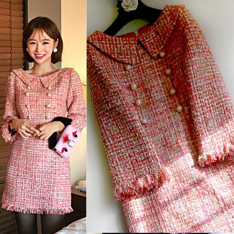 Новый семь небольшой сладкий весенний/летний ветер Твид платье рукав розовое платье общества