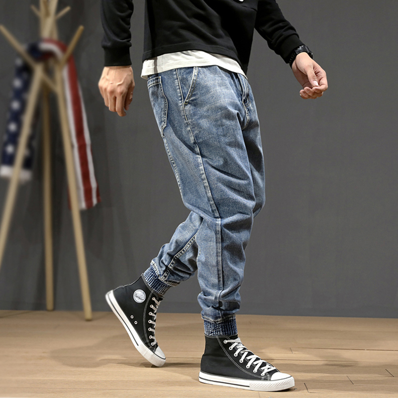 Fashion Streetwear Men Jeans Blue Color Loose Fit Spliced Designer Harem Pants Size 28-42 Slack Bottom Hip Hop Joggers Jeans Men