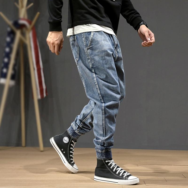 Fashion Streetwear Men Jeans Blue Color Loose Fit Spliced Designer Harem Pants Size 28-42 Slack Bottom Hip Hop Joggers Jeans Men