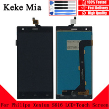 цена на Keke Mia 5.5 inch For Philips S616 LCD Display+Touch Screen 100% Original Tested LCD Digitizer Glass Panel Replacement