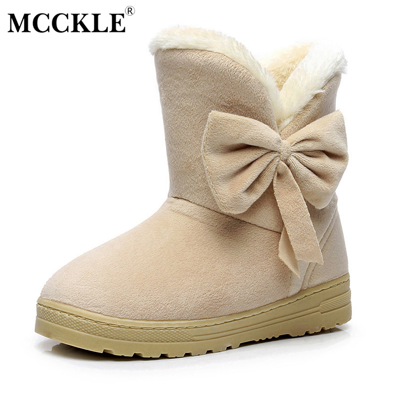 MCCKLE Female Warmer Plush Bowtie Fur Suede Rubber Flat Slip On Winter Ankle Snow Boots Women's Fashion Platform Black Shoes fashion women ankle boots suede tassels snow boots female warm plush bowtie fur rubber flat silp on platform black shoes casual