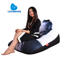 LEVMOON Beanbag Sofa Chair Jobs Seat Zac Comfort Bean Bag Bed Cover Without Filling Cotton Indoor