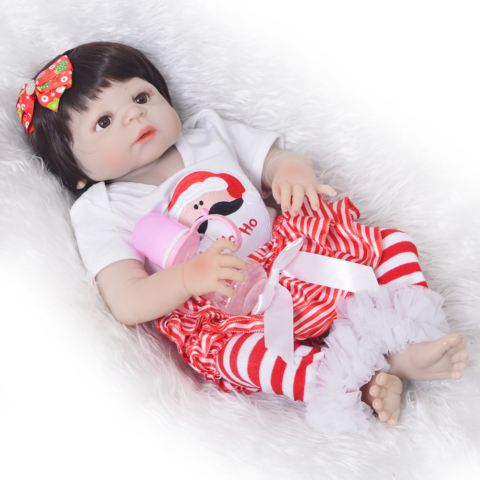 Fashion Lifelike 23'' Full Silicone Vinyl Dolls Reborn Babies Realistic Girl Toddler Reborn Dolls New Arrival For Kids Xmas Gift lifelike russian babies girl 23   reborn