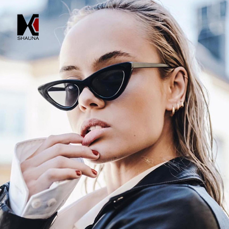 SHAUNA Popolare Donne Cat Eye Sunglasses Signore di Modo Cornice Rossa Colorato/Clear Lens Shades UV400