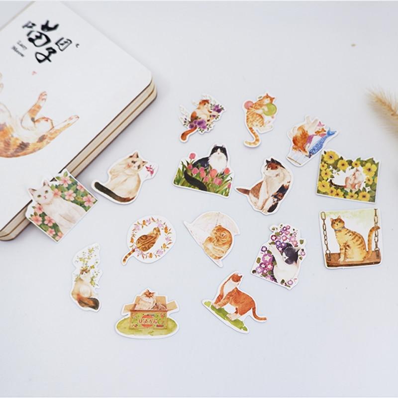 Купить с кэшбэком 45Pcs/box Cute flower cat Mini Decoration Paper Sticker DIY Scrapbook Notebook Album Sticker Stationery Kawaii Girl Stickers
