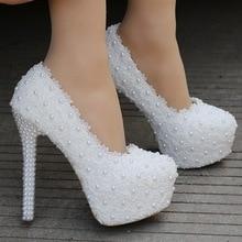 купить Women Pumps Shoes Lace Pearl Appliques Shoes +10cm Thin High Heels Platform Round Toe Slip-On Wedding Female Shoes Plus Size дешево